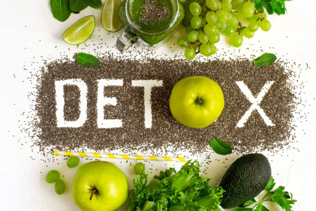 Word detox is made from chia seeds. Green smoothies and ingredients.