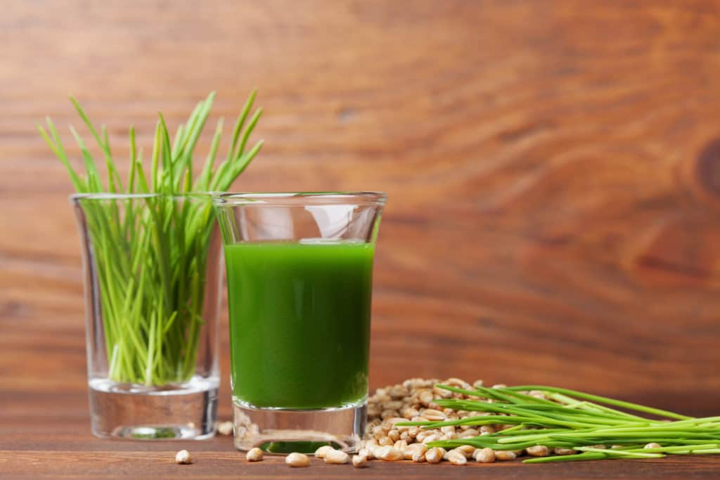 Shot glass filled with wheatgrass juice on a wooden table.